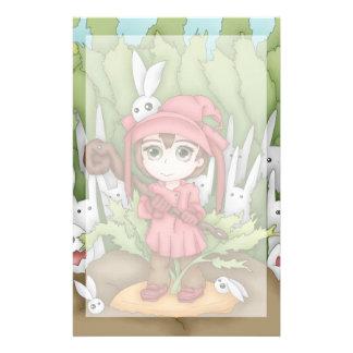 Anime Bunnies In The Garden Artwork Stationery
