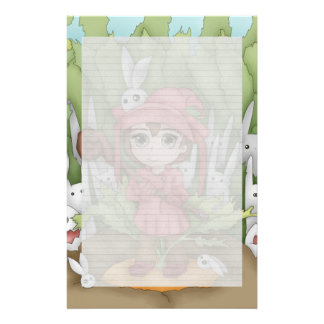 Anime Bunnies In The Garden Artwork Stationery Paper