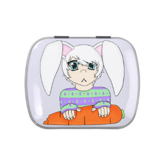 Anime Bunny Rabbit Boy With Carrot Candy Tins