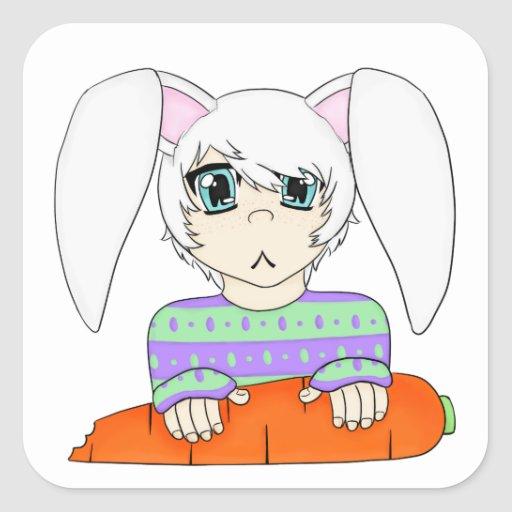 Anime Bunny Rabbit Boy With Carrot Square Sticker