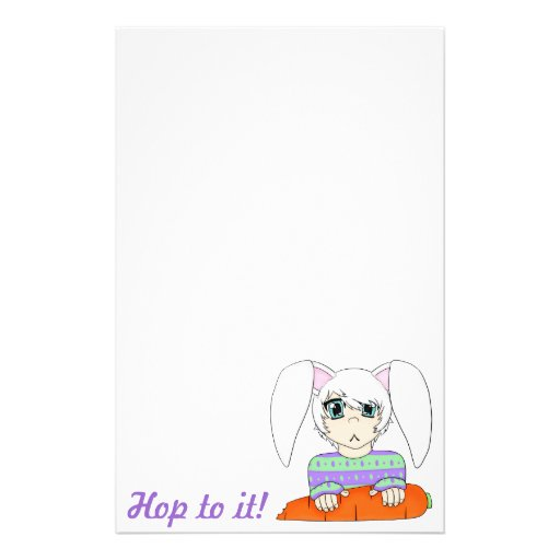 Anime Bunny Rabbit Boy With Carrot Stationery Paper