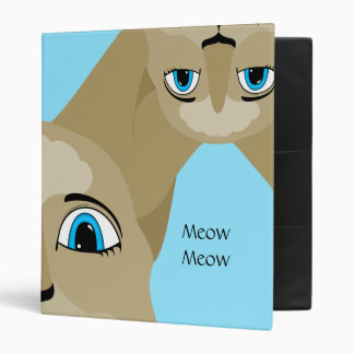 Anime Cat Face With Blue Eyes 3 Ring Binder