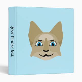 Anime Cat Face With Blue Eyes Vinyl Binder