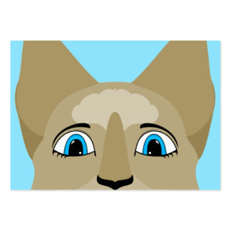 Anime Cat Face With Blue Eyes Business Card Template