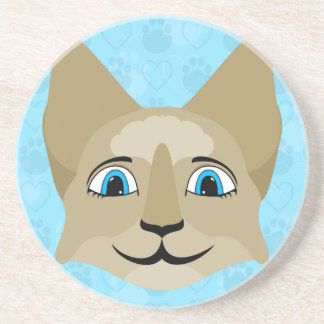 Anime Cat Face With Blue Eyes Coasters