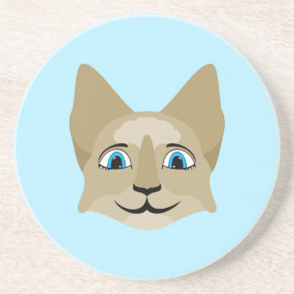 Anime Cat Face With Blue Eyes Beverage Coaster