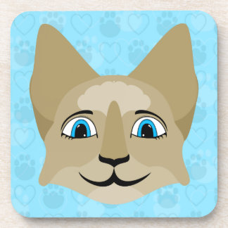 Anime Cat Face With Blue Eyes Coaster