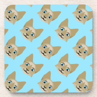 Anime Cat Face With Blue Eyes Drink Coaster