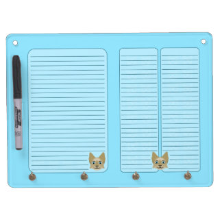Anime Cat Face With Blue Eyes Dry Erase Board With Keychain Holder