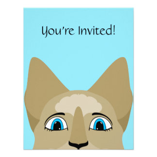 Anime Cat Face With Blue Eyes Personalized Invitations