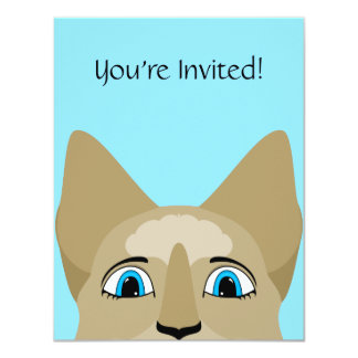 """Anime Cat Face With Blue Eyes 4.25"""" X 5.5"""" Invitation Card"""