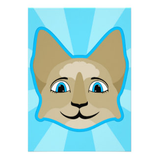 Anime Cat Face With Blue Eyes Personalized Invitation