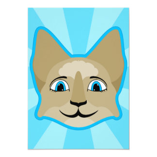 """Anime Cat Face With Blue Eyes 5"""" X 7"""" Invitation Card"""