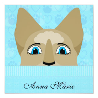 """Anime Cat Face With Blue Eyes 5.25"""" Square Invitation Card"""