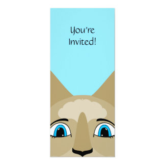 """Anime Cat Face With Blue Eyes 4"""" X 9.25"""" Invitation Card"""
