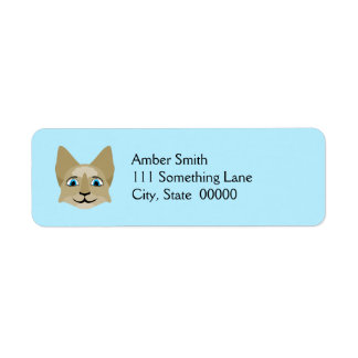 Anime Cat Face With Blue Eyes Return Address Label