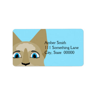 Anime Cat Face With Blue Eyes Personalized Address Label