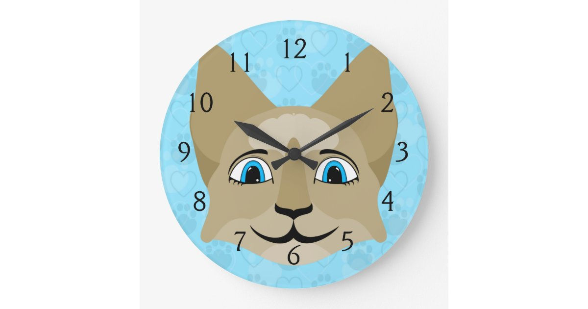 Anime Cat Face With Blue Eyes Large Clock
