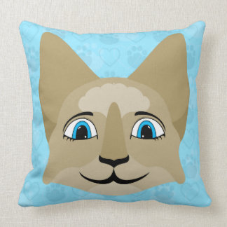 Anime Cat Face With Blue Eyes Throw Pillow
