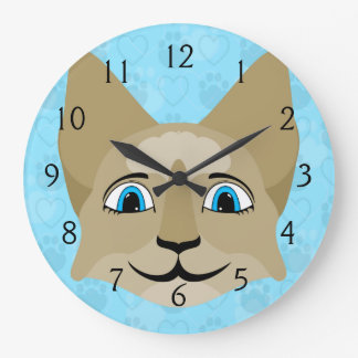 Anime Cat Face With Blue Eyes Wallclocks