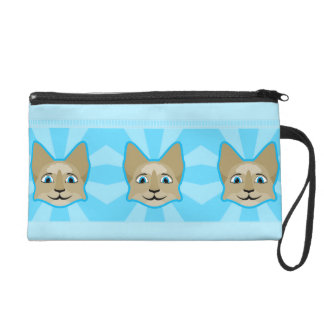 Anime Cat Face With Blue Eyes Wristlet Purse