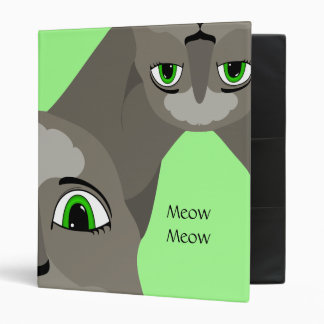Anime Cat Face With Green Eyes 3 Ring Binder