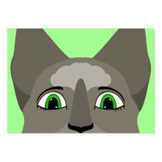 Anime Cat Face With Green Eyes Business Card Template