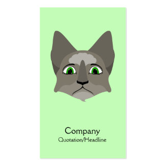 Anime Cat Face With Green Eyes Business Card Templates