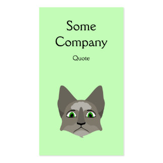 Anime Cat Face With Green Eyes Business Cards
