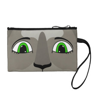 Anime Cat Face With Green Eyes Change Purse