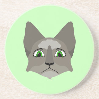 Anime Cat Face With Green Eyes Coaster