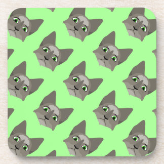 Anime Cat Face With Green Eyes Drink Coasters