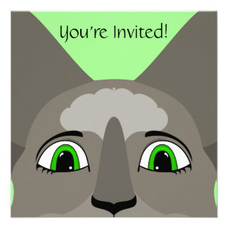 Anime Cat Face With Green Eyes Custom Announcement