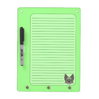 Anime Cat Face With Green Eyes Dry Erase Board