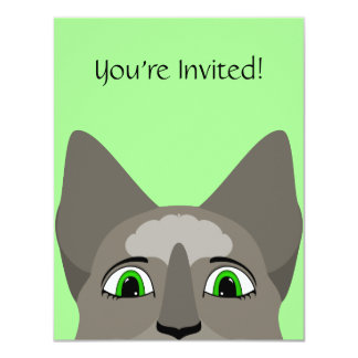 """Anime Cat Face With Green Eyes 4.25"""" X 5.5"""" Invitation Card"""