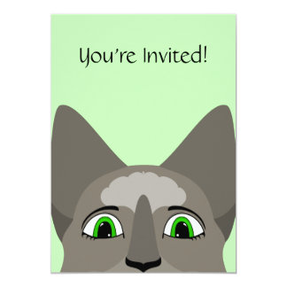 """Anime Cat Face With Green Eyes 5"""" X 7"""" Invitation Card"""