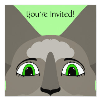 """Anime Cat Face With Green Eyes 5.25"""" Square Invitation Card"""