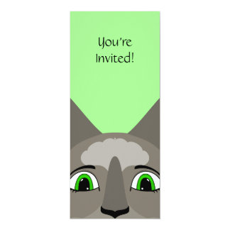 """Anime Cat Face With Green Eyes 4"""" X 9.25"""" Invitation Card"""
