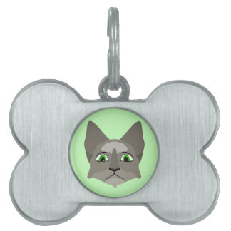 Anime Cat Face With Green Eyes Pet Name Tag
