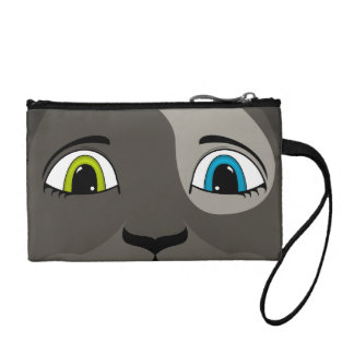Anime Cat Face With Multi Colored Eyes Coin Purse