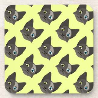 Anime Cat Face With Multi Colored Eyes Beverage Coasters