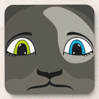Anime Cat Face With Multi Colored Eyes Beverage Coaster