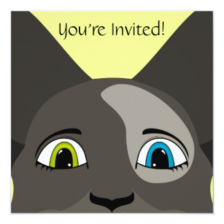 """Anime Cat Face With Multi Colored Eyes 5.25"""" Square Invitation Card"""