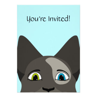 Anime Cat Face With Multi Colored Eyes Invitation
