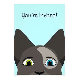 """Anime Cat Face With Multi Colored Eyes 5"""" X 7"""" Invitation Card"""