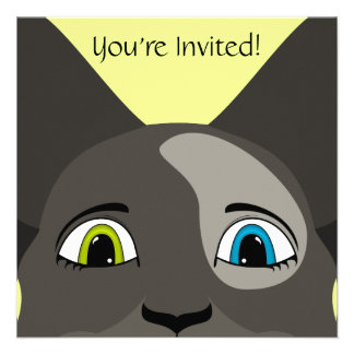 Anime Cat Face With Multi Colored Eyes Invitations