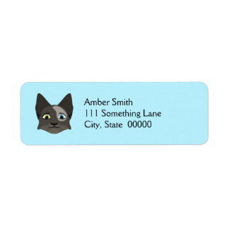 Anime Cat Face With Multi Colored Eyes Return Address Label