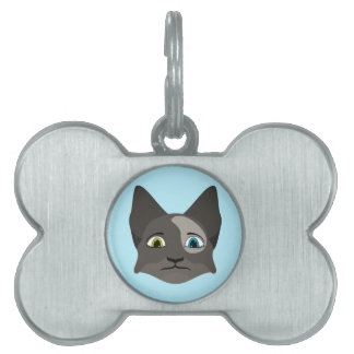 Anime Cat Face With Multi Colored Eyes Pet Name Tags