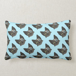 Anime Cat Face With Multi Colored Eyes Throw Pillow