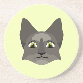 Anime Cat Face With Yellow Eyes Drink Coasters